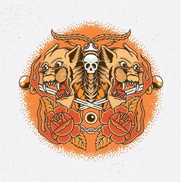 Dessiné à la main d'une tête de tigre et d'un papillon avec un style de tatouage à l'ancienne