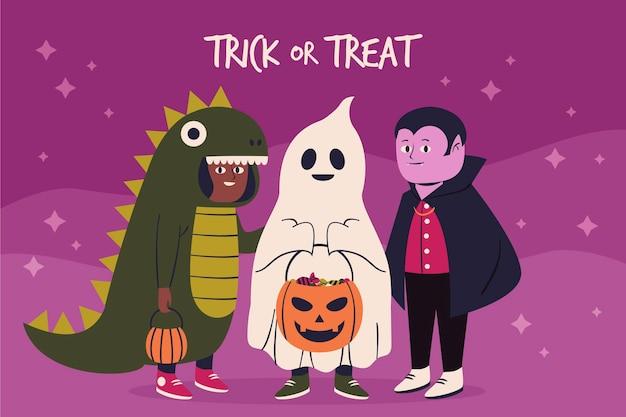 Dessiné à la main ou traiter fond d'halloween