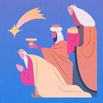 Dessiné à la main des trois sages