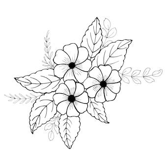 Dessiné à la main valentine floral bouquet