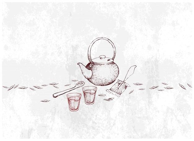 Dessiné à la main de verre de thé avec pot et sachet de thé