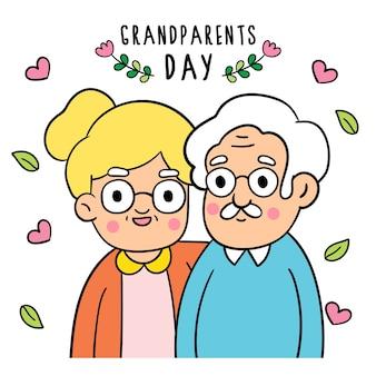 Dessine des styles de griffonnage de la journée des grands-parents.
