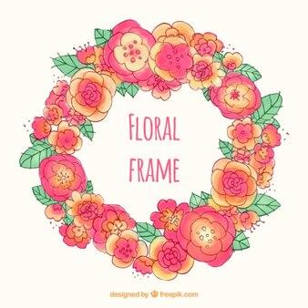 Dessinée ornement rose et fleurs d'oranger main