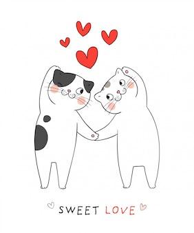 Dessiner l'amour de couple de chat avec coeur rouge
