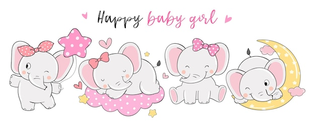 Dessiner une bannière fille éléphant heureuse pour la douche de bébé