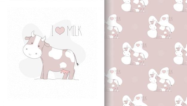 Dessiner une carte et un modèle sans couture avec une vache mignonne.