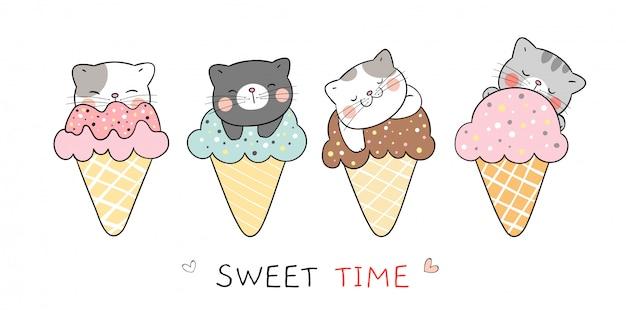 Dessiner un chat de collection dans des cornets de glace pour l'été