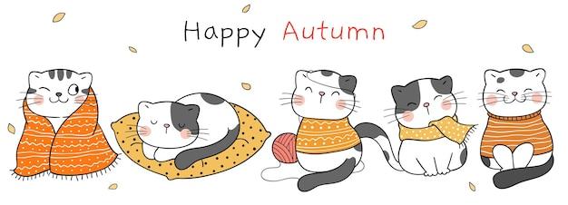Dessiner un chat heureux en automne concept d'automne heureux