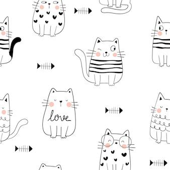 Dessiner un chat heureux modèle sans couture avec poisson