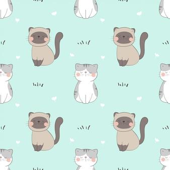 Dessiner un chat de modèle sans couture