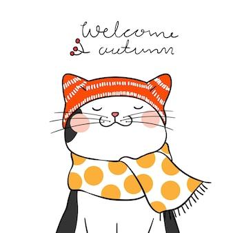 Dessiner un chat noir avec une écharpe de beauté et un mot bienvenue en automne
