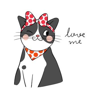 Dessiner un chat noir avec un grand arc rouge sur la tête et le mot m'aime