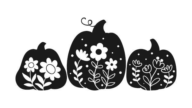 Dessiner une citrouille florale de couleur noire