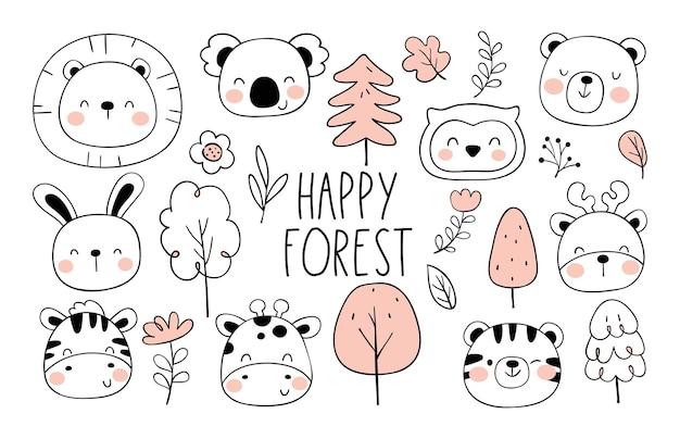 Dessiner la collection animaux de la forêt heureux doodle style cartoon