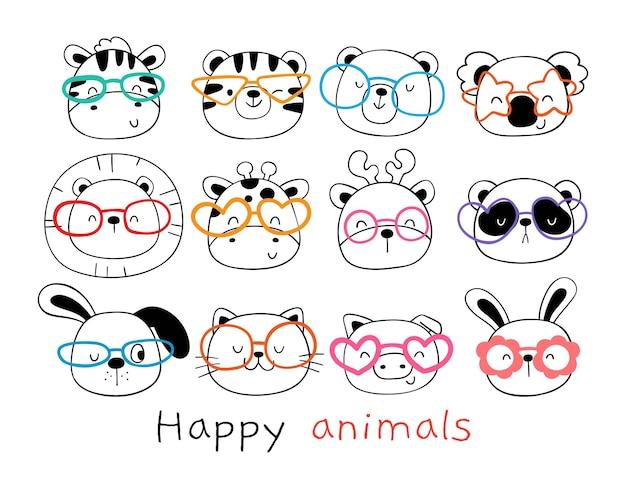 Dessiner une collection d'animaux de la forêt heureux avec des lunettes