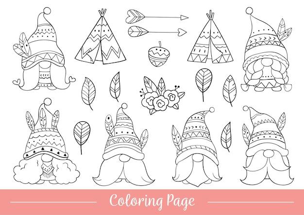 Dessiner à colorier le style de dessin animé de gnome tribal doodle