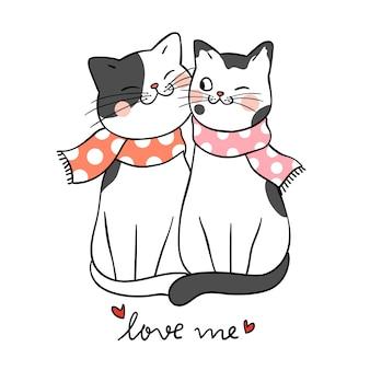 Dessiner couple amour de chat avec mot m'aime