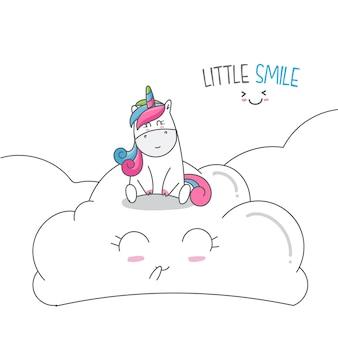 Dessiner un dessin animé mignon de licorne