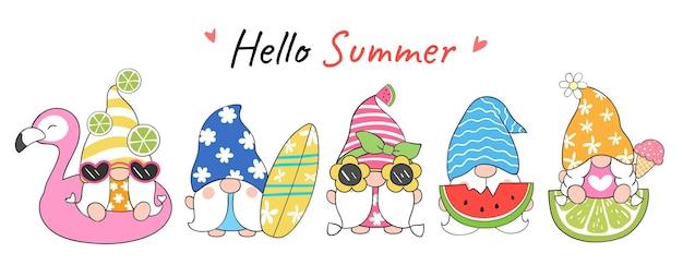 Dessiner un gnome drôle de conception de bannière pour l'été