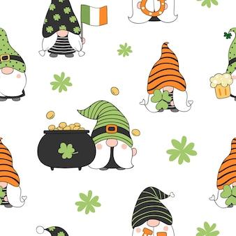 Dessiner un gnome de fond sans couture pour le style de doodle de st patrick day