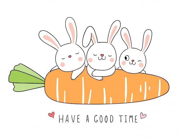 Dessiner un lapin à la carotte orange sur blanc.