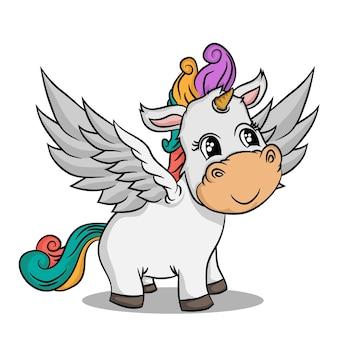Dessiner une licorne de dessin animé mignon isolé