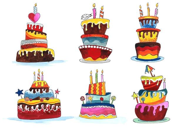 Dessiner à la main des gâteaux d'anniversaire mis en aquarelle