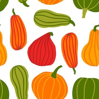 Dessiner à la main un motif sans couture de citrouille dans un fond de vecteur de style doodle simple citrouilles colorées de différentes formes et tailles isolées sur fond blanc. modèle pour halloween, thanksgiving, récolte