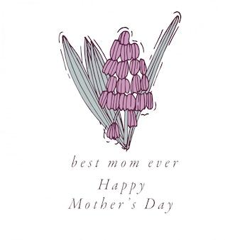 Dessiner à la main pour la carte de voeux de fête des mères couleur colorée. typographie et icône pour fond de vacances de printemps, bannières ou affiches et autres imprimables.