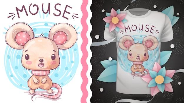 Dessiner à la main de la souris aquarelle animal personnage de dessin animé enfantin