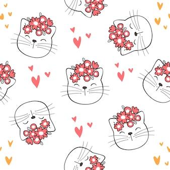 Dessiner le modèle sans couture chat mignon et fleur de beauté