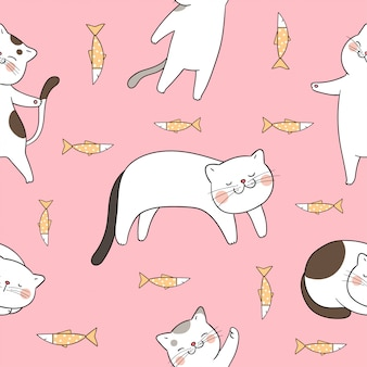 Dessiner modèle sans couture joli chat avec poisson rose.