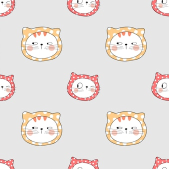 Dessiner un motif mignon chat sans couture avec petit pois