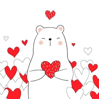 Dessiner un ours blanc tenant un coeur rouge pour la saint valentin