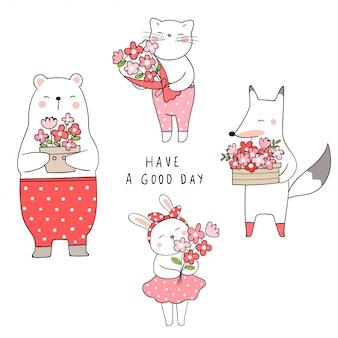 Dessiner un ourson mignon lapin et le renard tenant une fleur concept de printemps