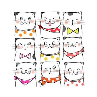 Dessiner portrait de chats mignons style doodle