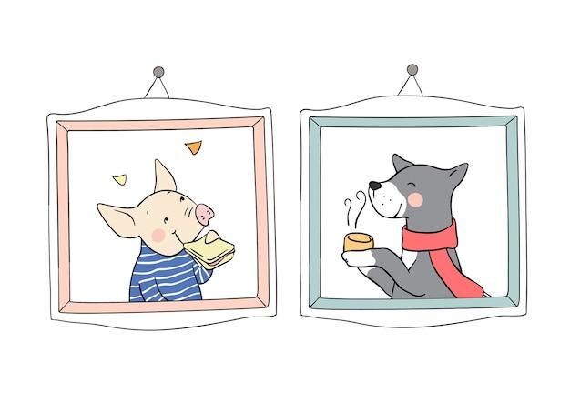 Dessiner portrait cochon et loup dans un cadre vintage pour l'automne