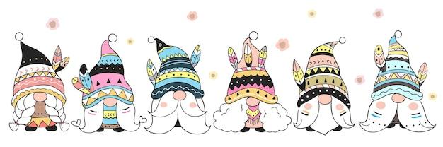 Dessiner le style de dessin animé tribal gnome doodle