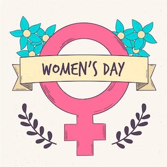 Dessiner avec le symbole de la journée de la femme