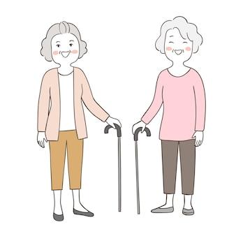 Dessiner la vieille grand-mère âgée de caractère avec canne
