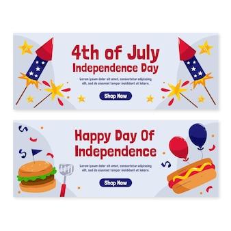 Dessinés à la main le 4 juillet - ensemble de bannières de la fête de l'indépendance
