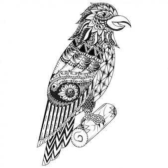 Dessinés à la main d'aigle dans un style zentangle