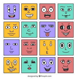 Dessinés à la main avatars carrés drôles