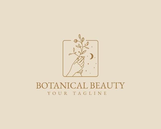 Dessinés à la main beauté féminine minimal floral botanique han logo spa salon peau soins des cheveux marque