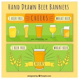 Dessinés à la main bière de blé bannières