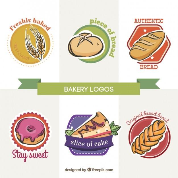 Dessinés à la main boulangerie logos avec desserts et pains