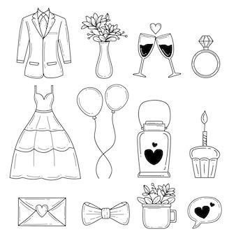 Dessinés à la main de la collection d'éléments de mariage
