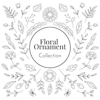 Dessinés à la main de la collection d'ornements floraux pour mariage et décoration