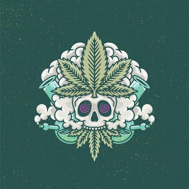 Dessinés à la main de crâne et de fumée de marijuana avec un style de tatouage à l'ancienne.