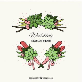 Dessinés à la main les détails de cactus pour la décoration de mariage